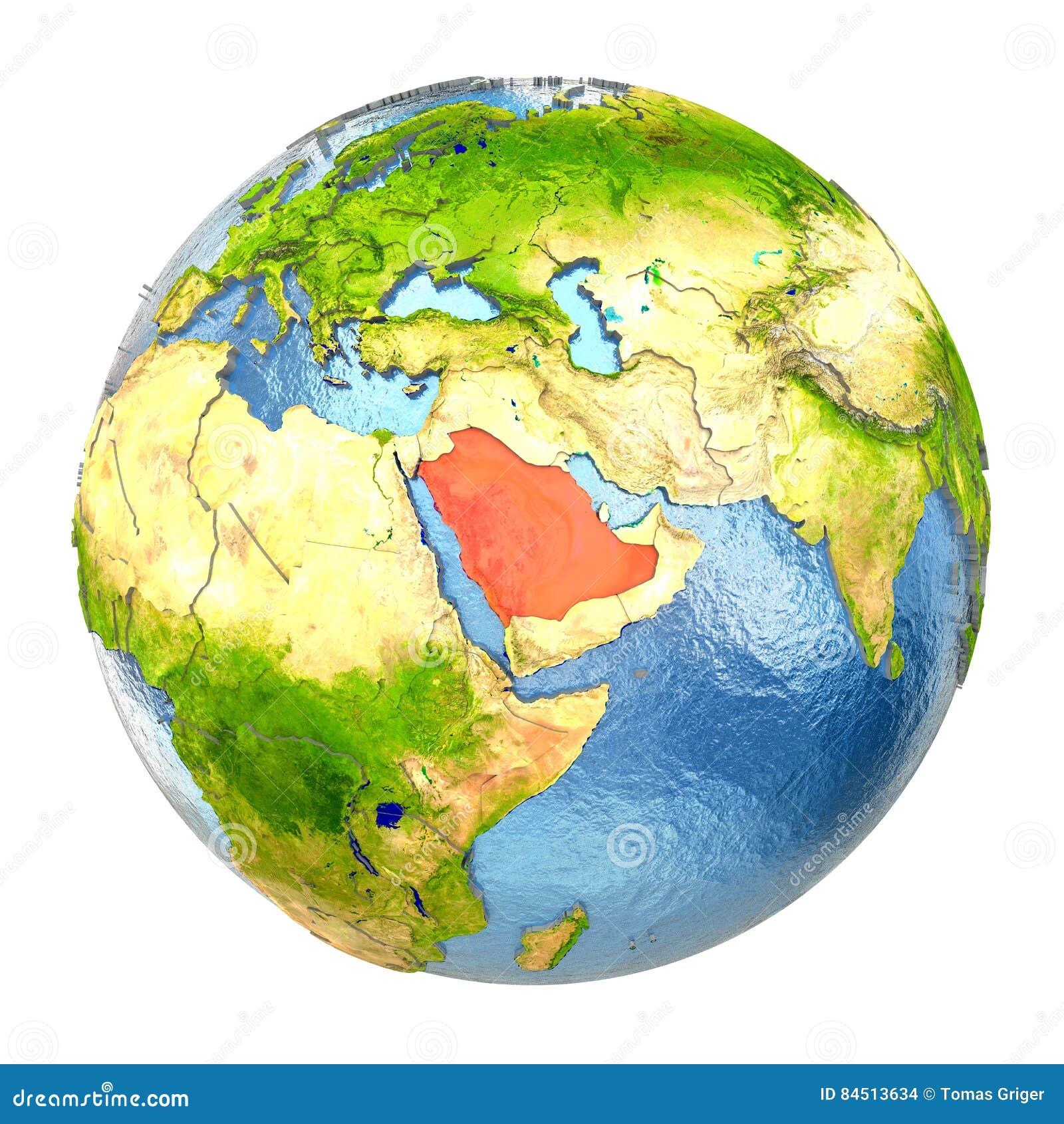 Full Earth Map.Saudi Arabia In Red On Full Earth Stock Illustration Illustration
