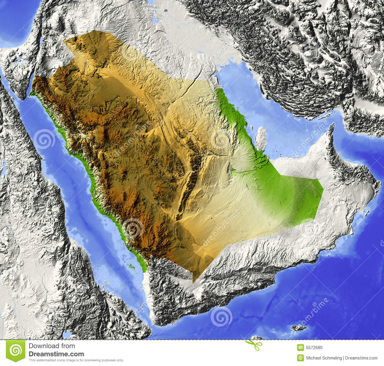 Saudi Arabia relief map stock illustration Illustration of saudi