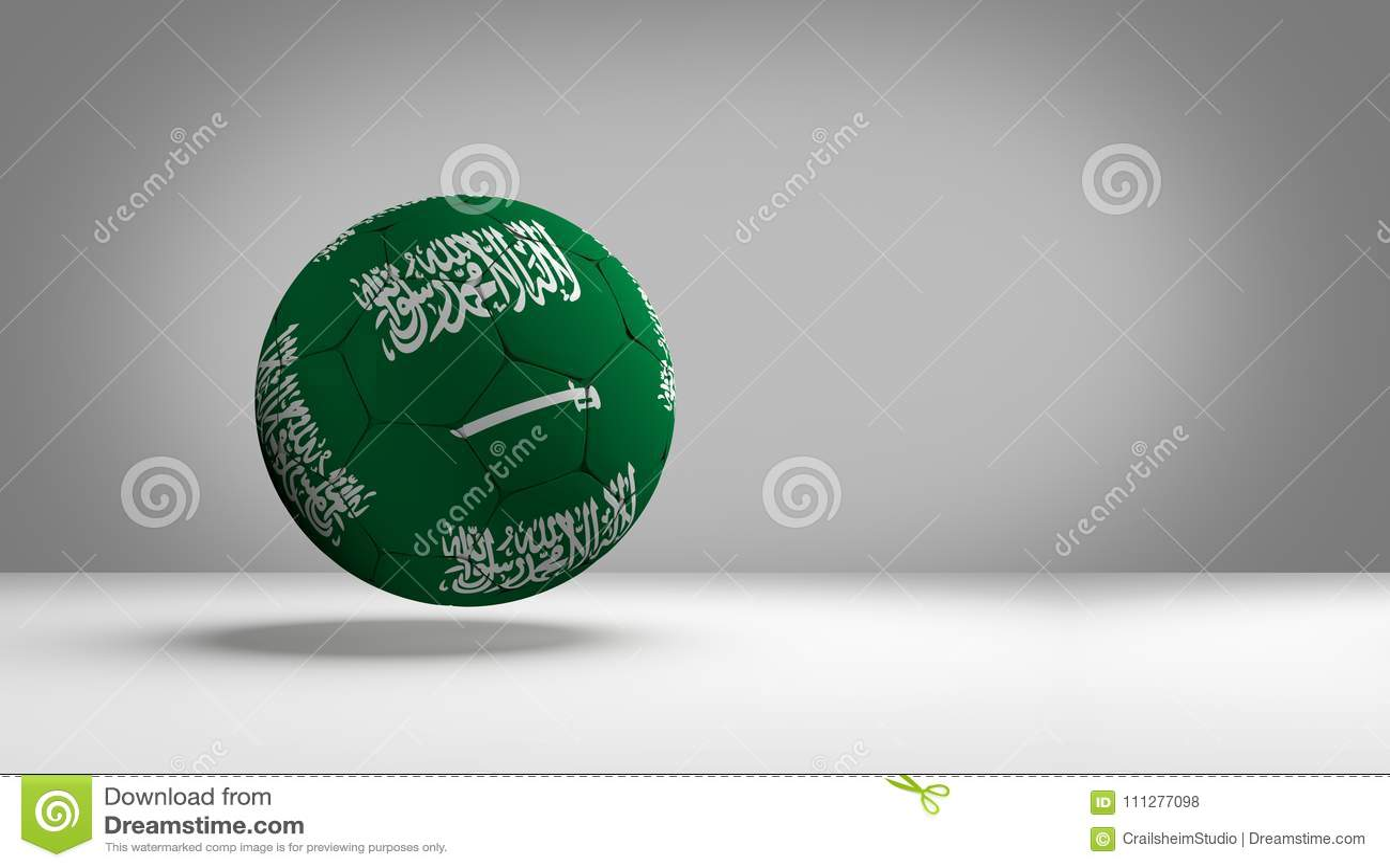 Saudi Arabia Soccer Football Ball 3d Rendering National Flag Color Design Image