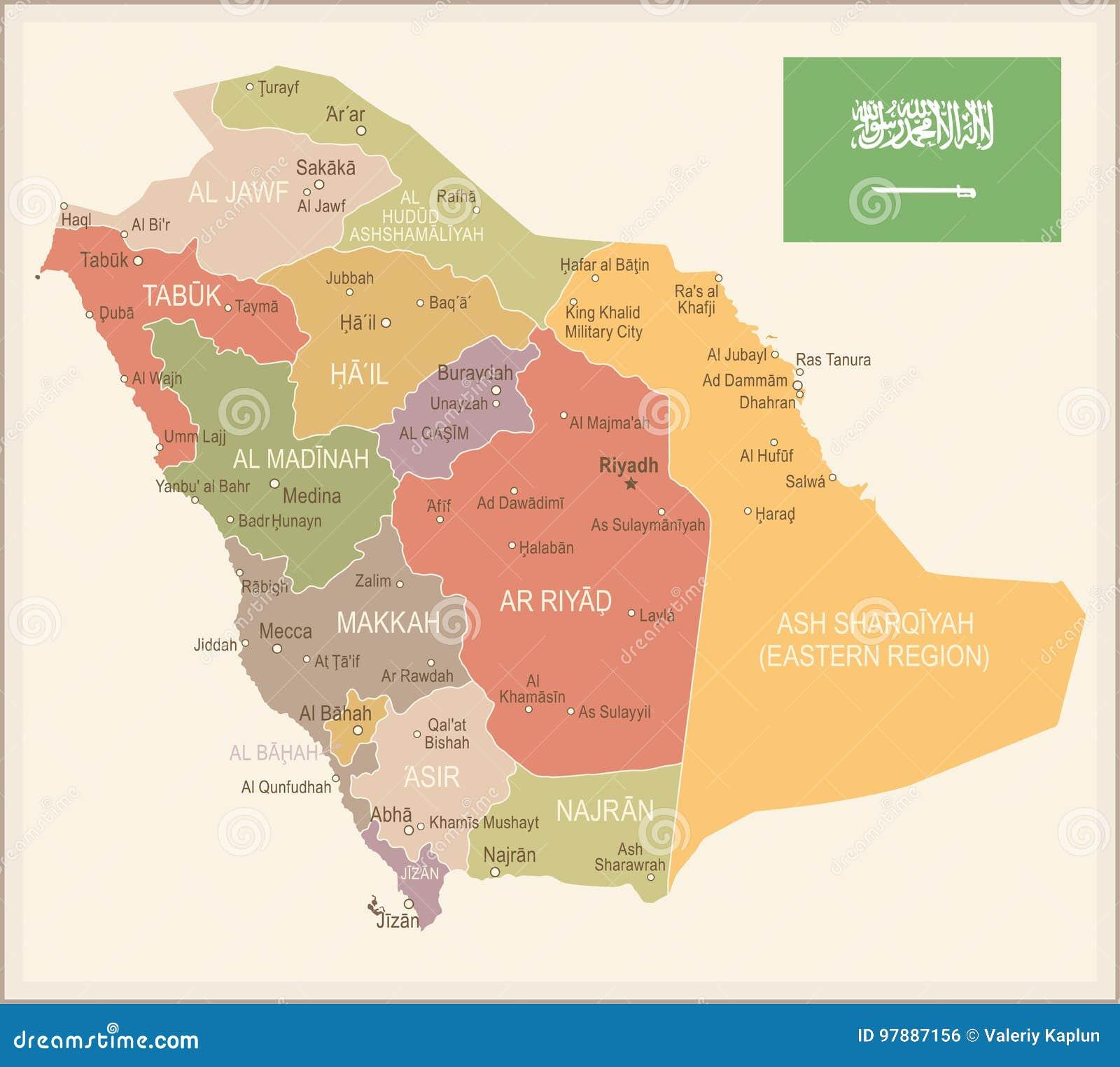 Saudi Arabia - Vintage Map And Flag - Illustration Stock ...