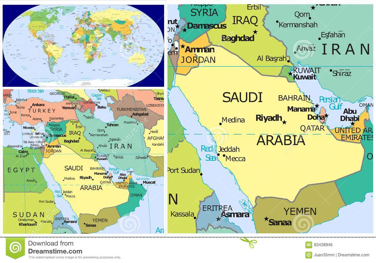 Saudi Arabia On World Map Saudi Arabia & World stock illustration. Illustration of area