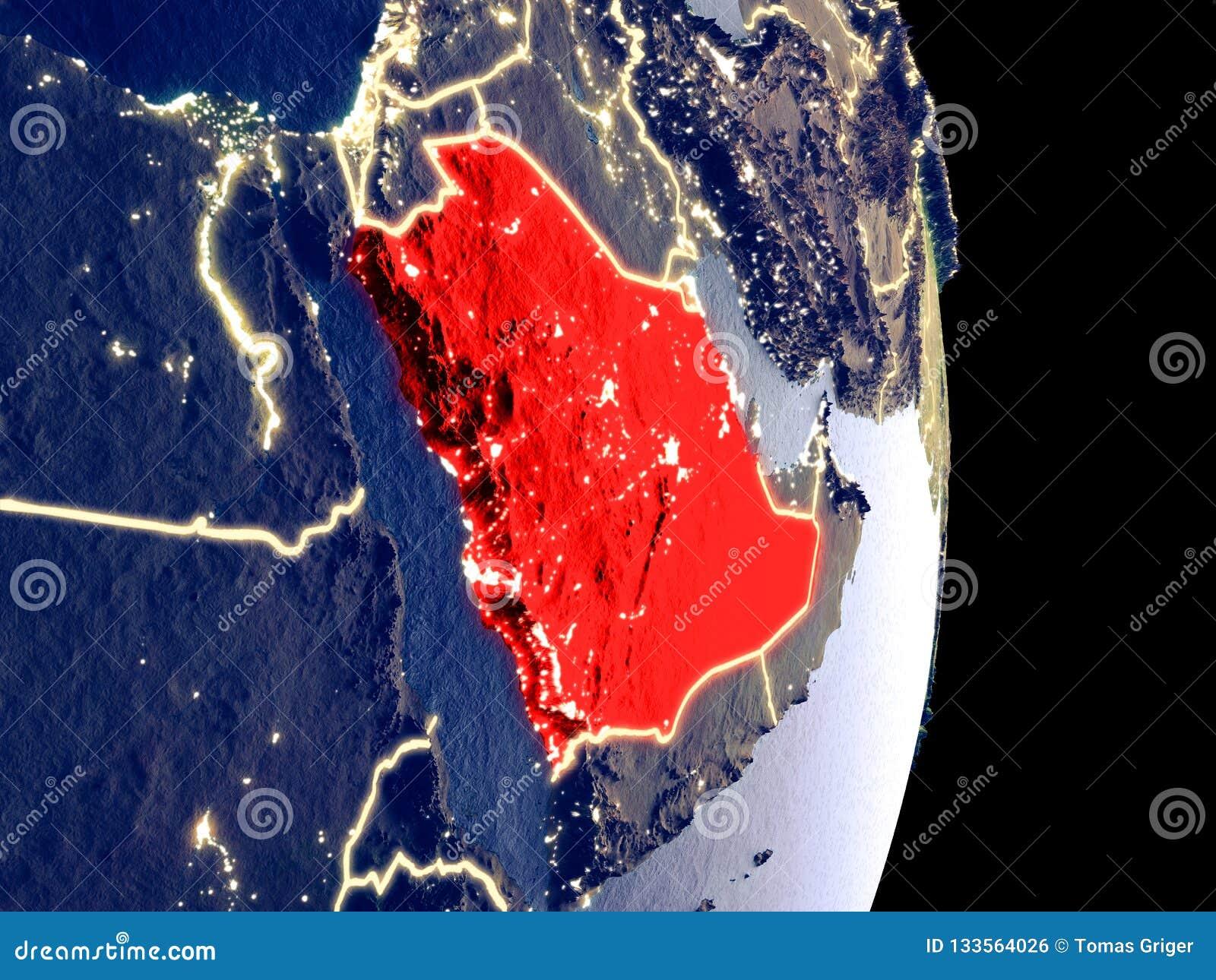 Saudi-Arabien auf Nachterde