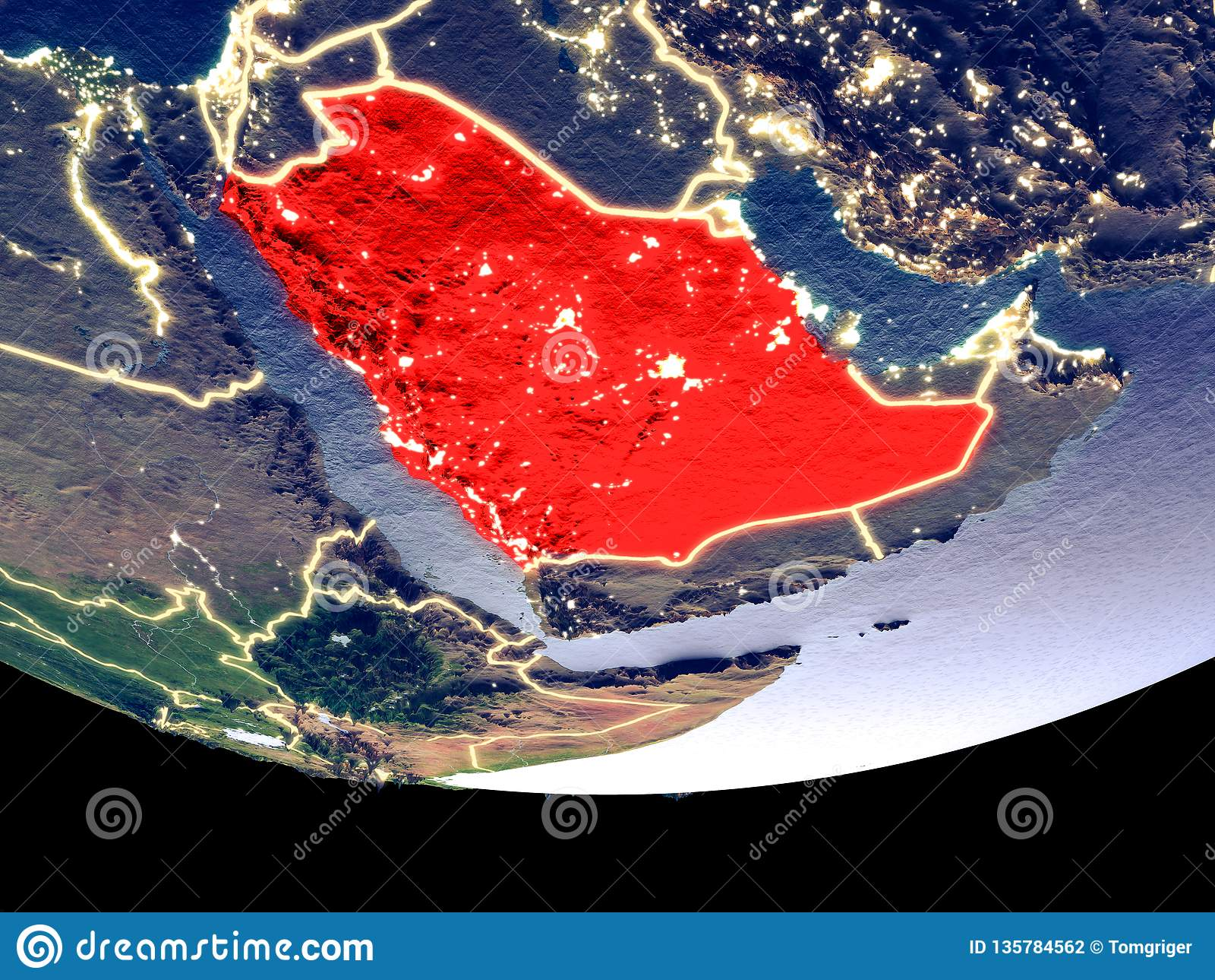 Saudi-Arabien nachts vom Raum