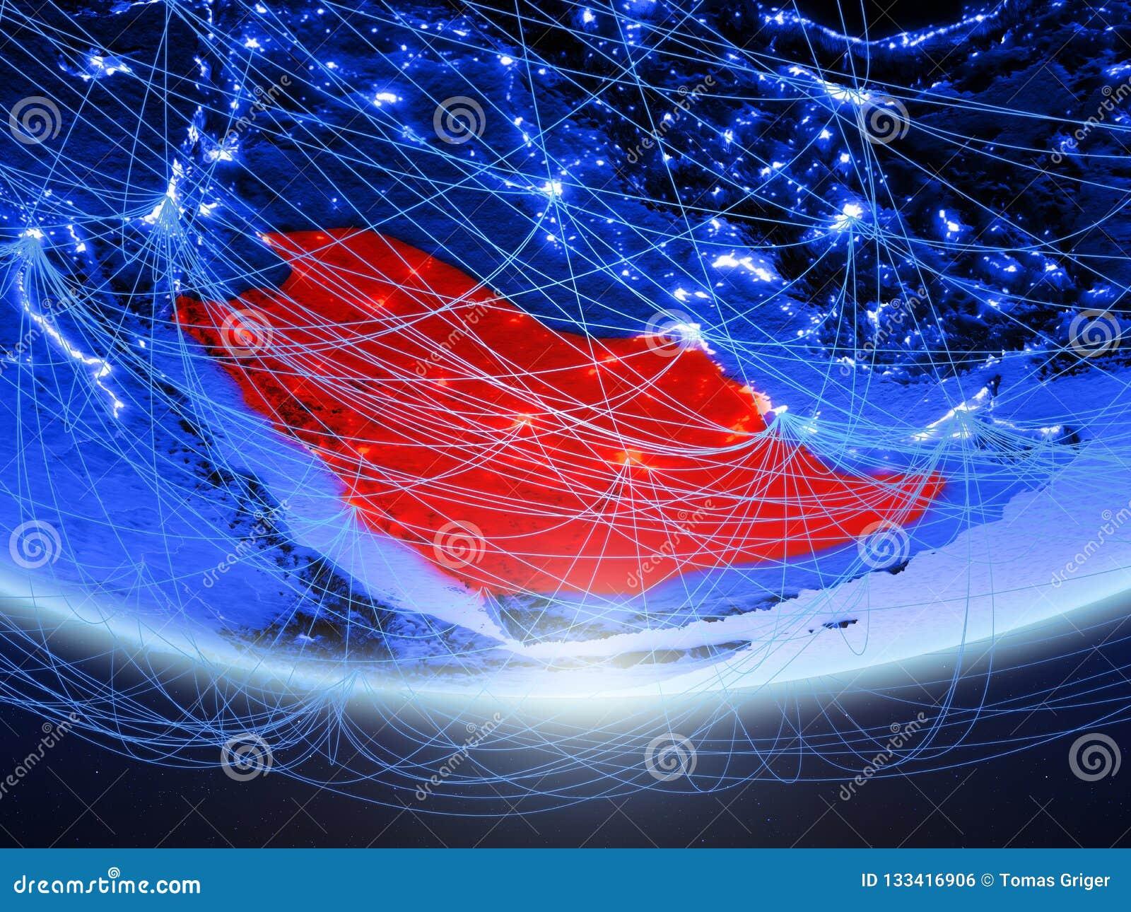 Saudi-Arabien vom Raum mit Netz