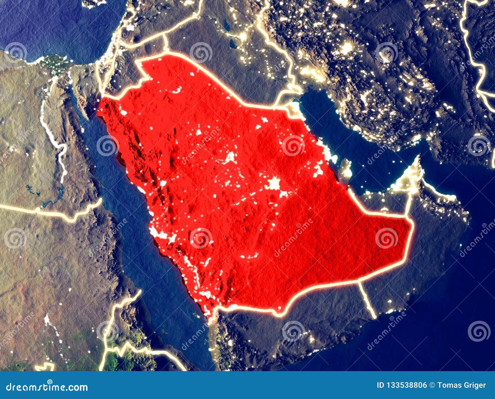 Saudiarabien på jord på natten