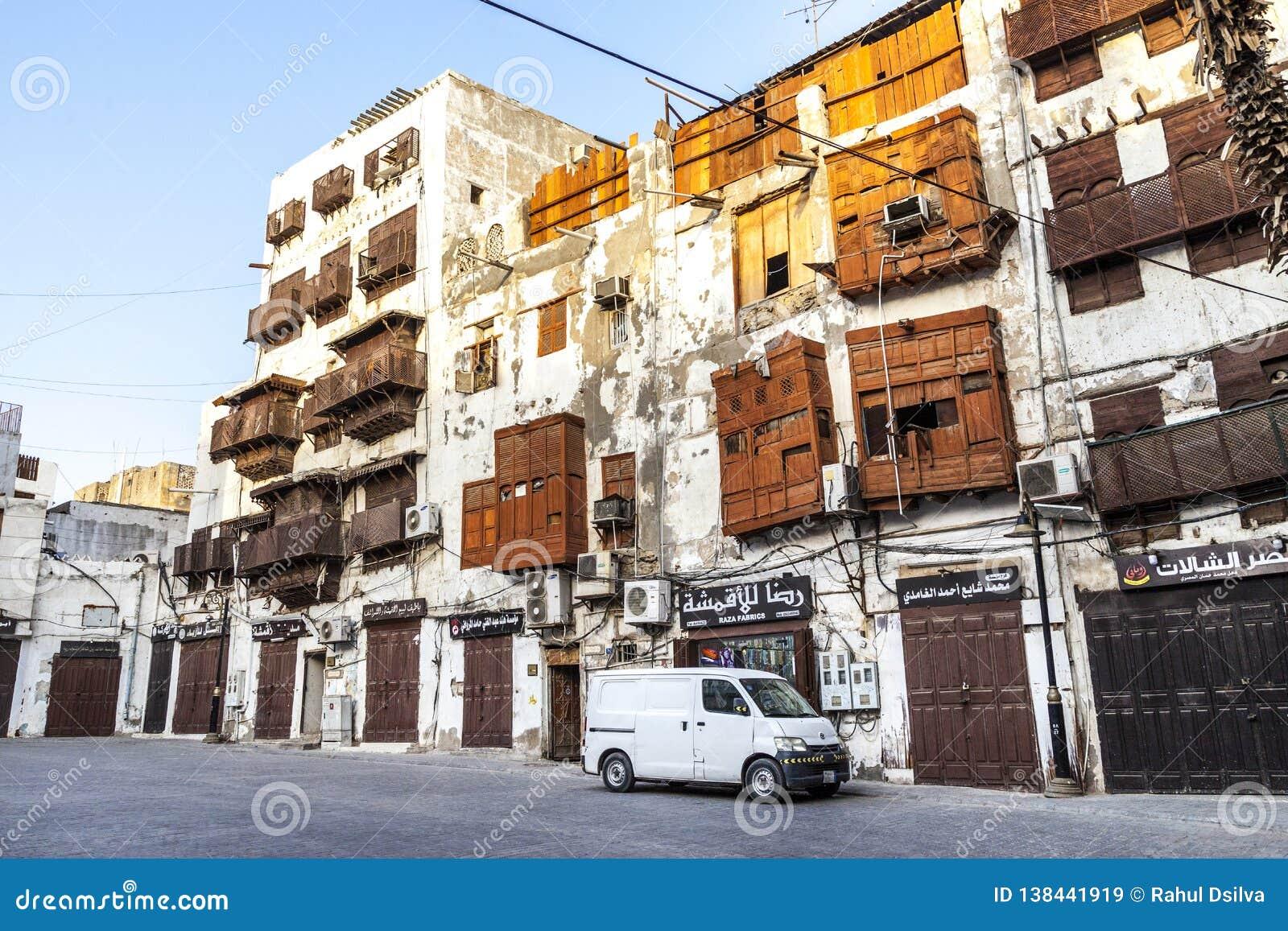 Saudyjczyka Jeddah Luty 1 2019 Stary miasto w Jeddah Starym mieście w Jeddah Arabia Saudyjska znać jako Dziejowy Jeddah Uliczny w