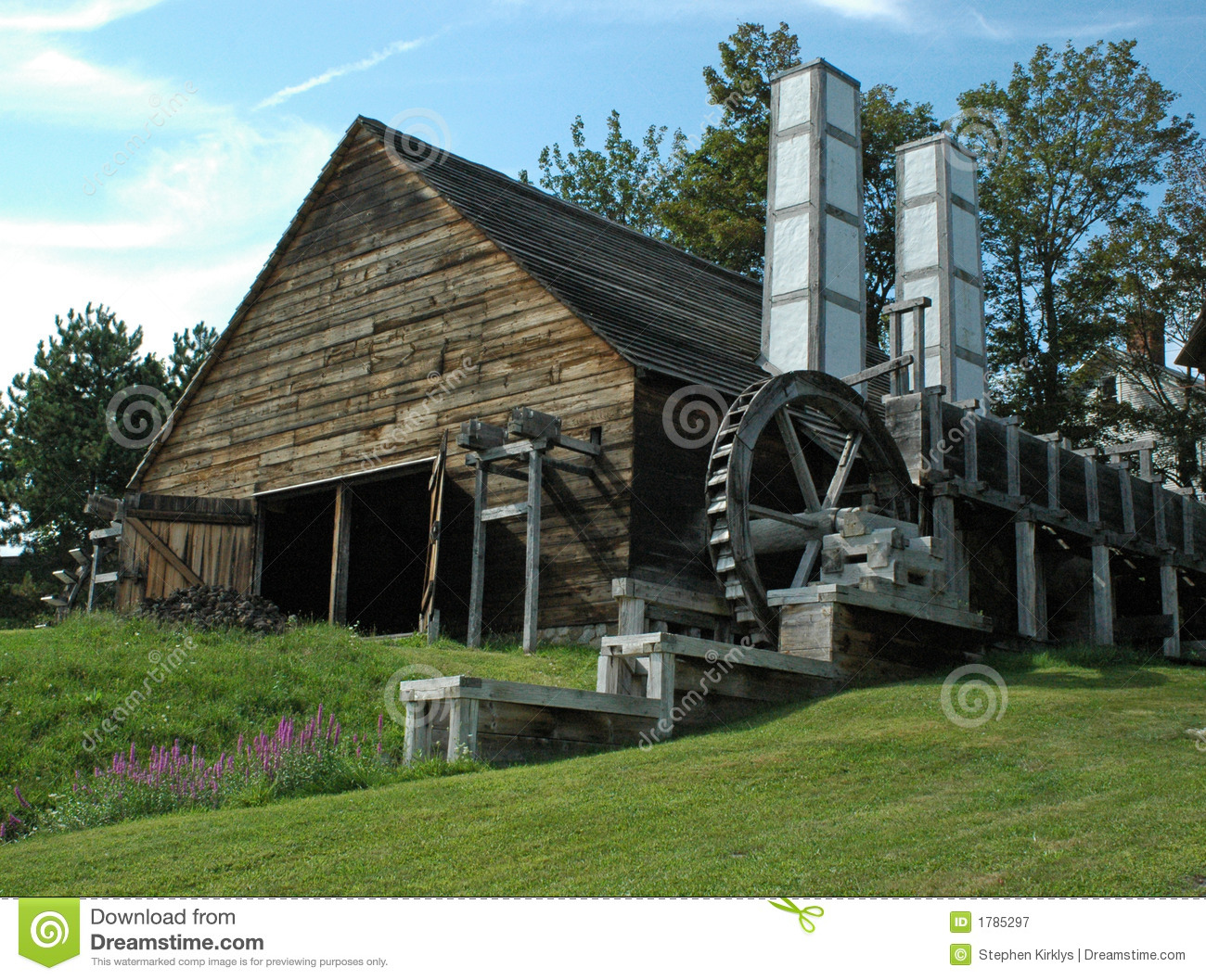 Saugus Ironworks Two Chimneys Stock Image Image Of