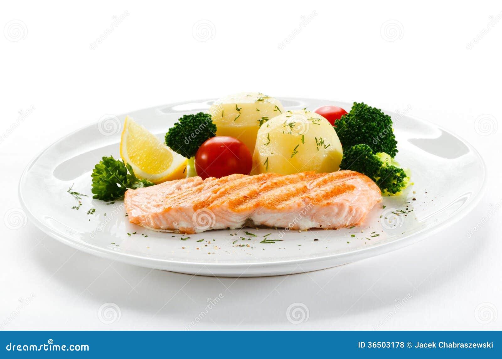 Saumons et légumes rôtis