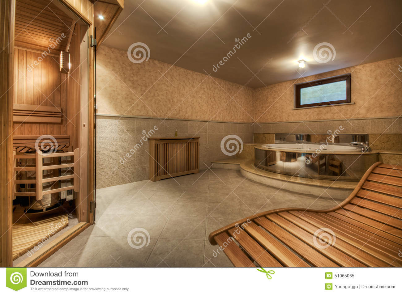 sauna et jacuzzi modernes et confortables image stock image 51065065. Black Bedroom Furniture Sets. Home Design Ideas