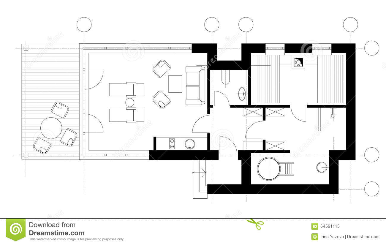 Sauna plan view with standard furniture symbols stock Sauna floor plans