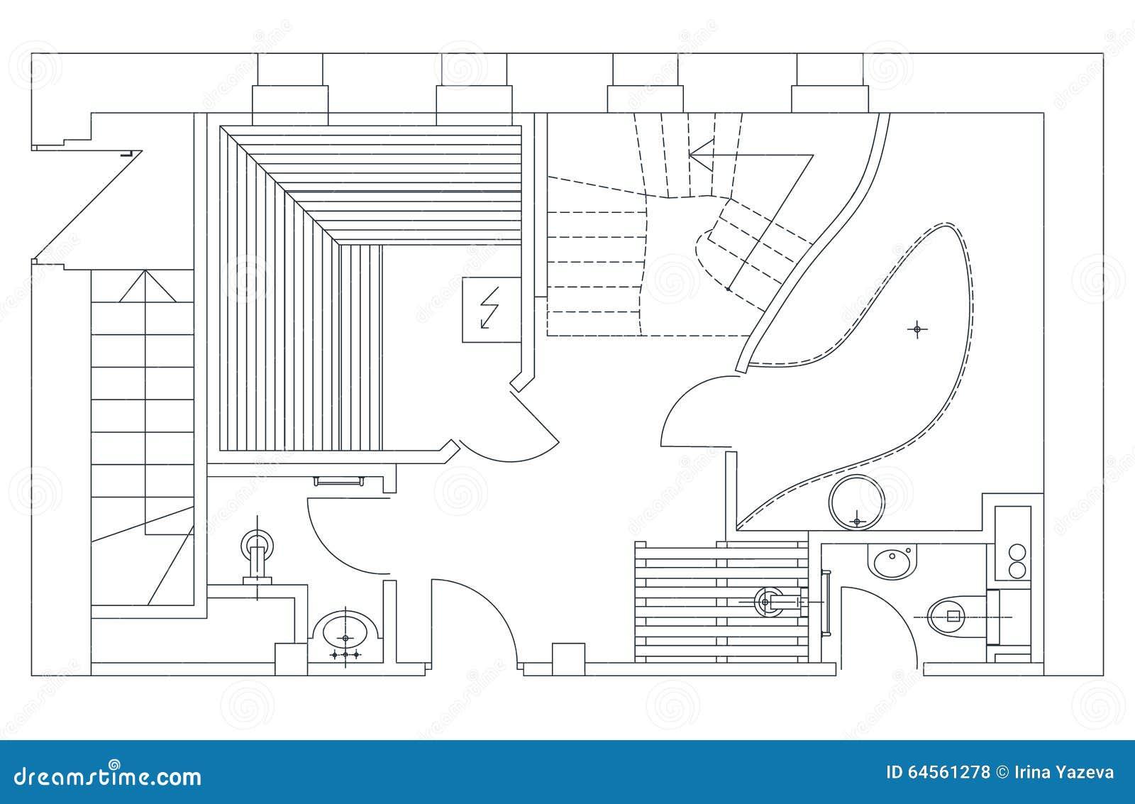 Ordinary Sauna Plan #8: Sauna Plan View With Standard Furniture Symbols
