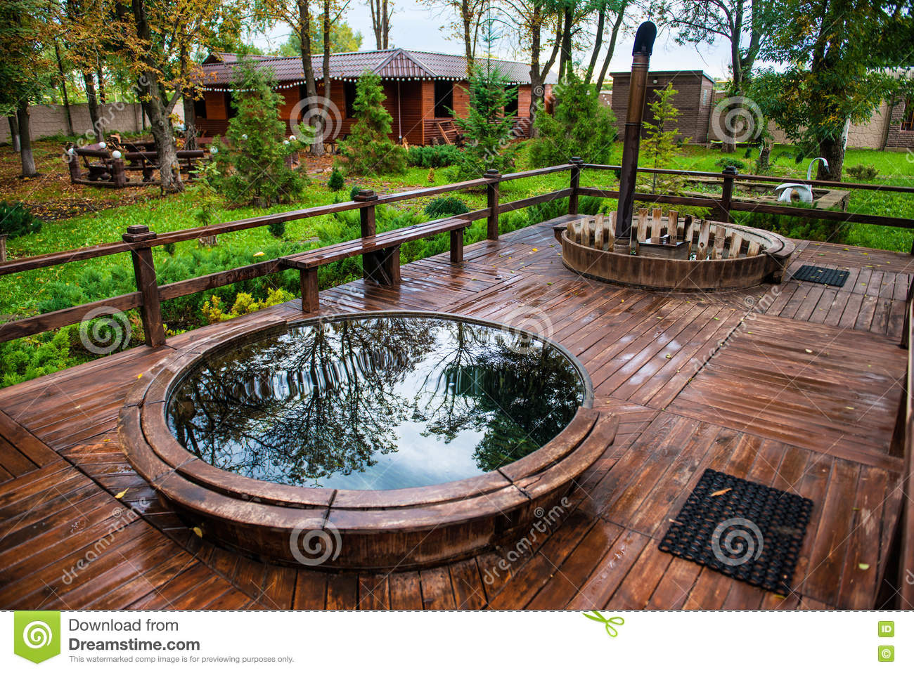 Sauna Pool And Jacuzzi With Rest Recreation Area Outdoor