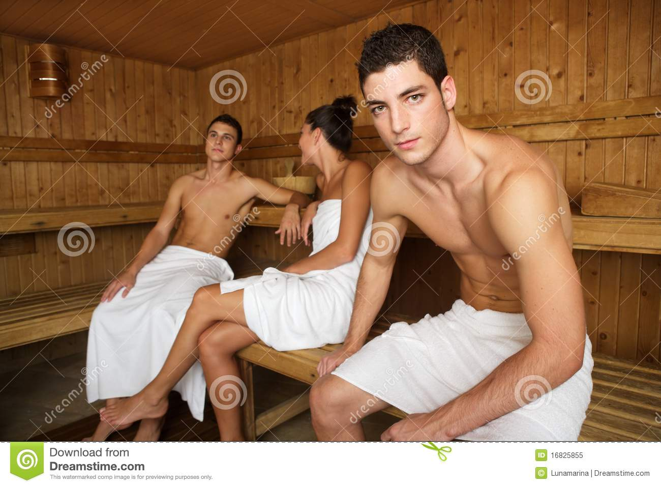 Sauna Spa Therapy Young Group In Wooden Room Royalty Free