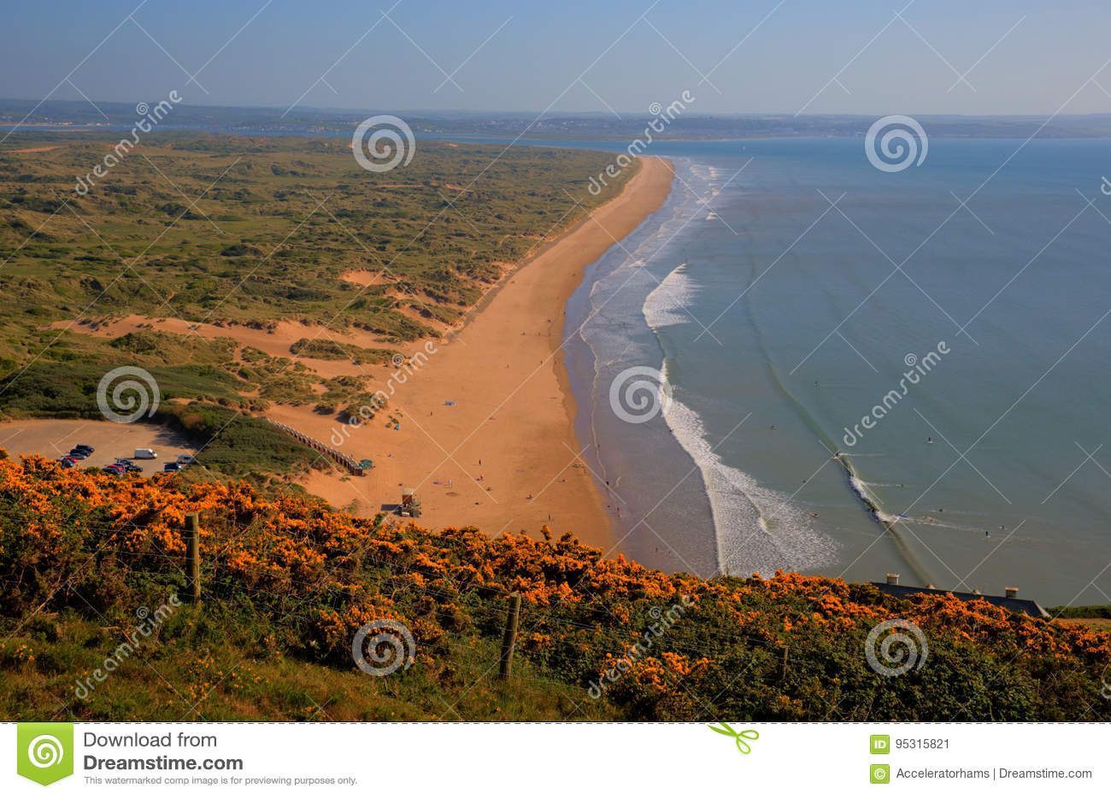 Saunton lixa a costa norte de Devon perto de Croyde Inglaterra Reino Unido
