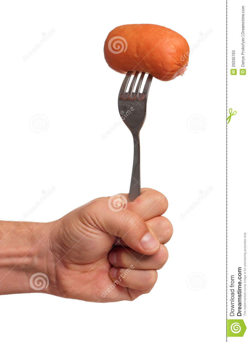 Sausage on fork stock image. Image of kitchen, nutritious - 29335763
