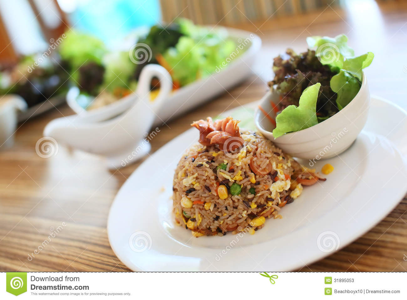 Stock Photos: Sausage fried rice and Salad
