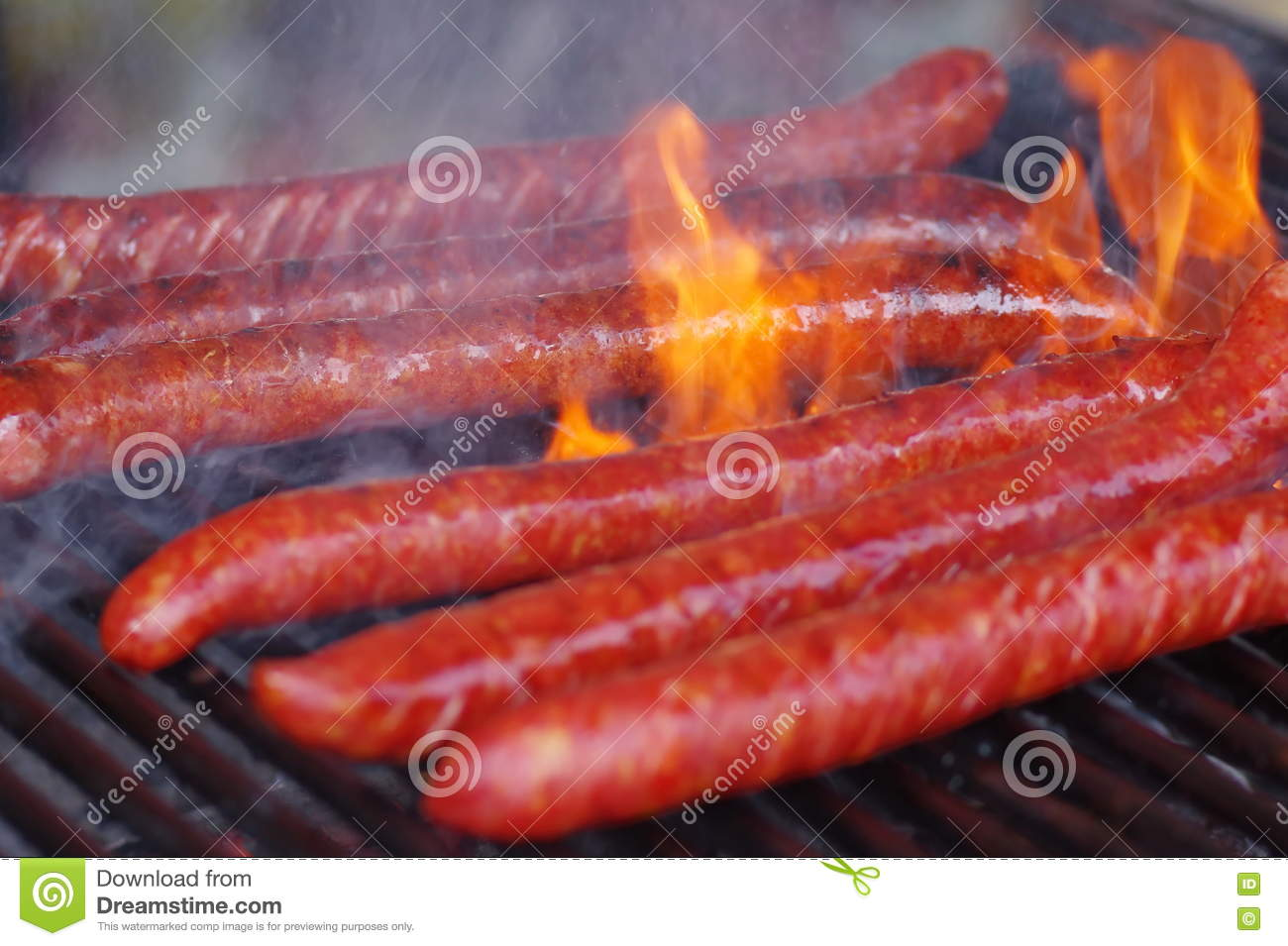 Sausage on the grill close up