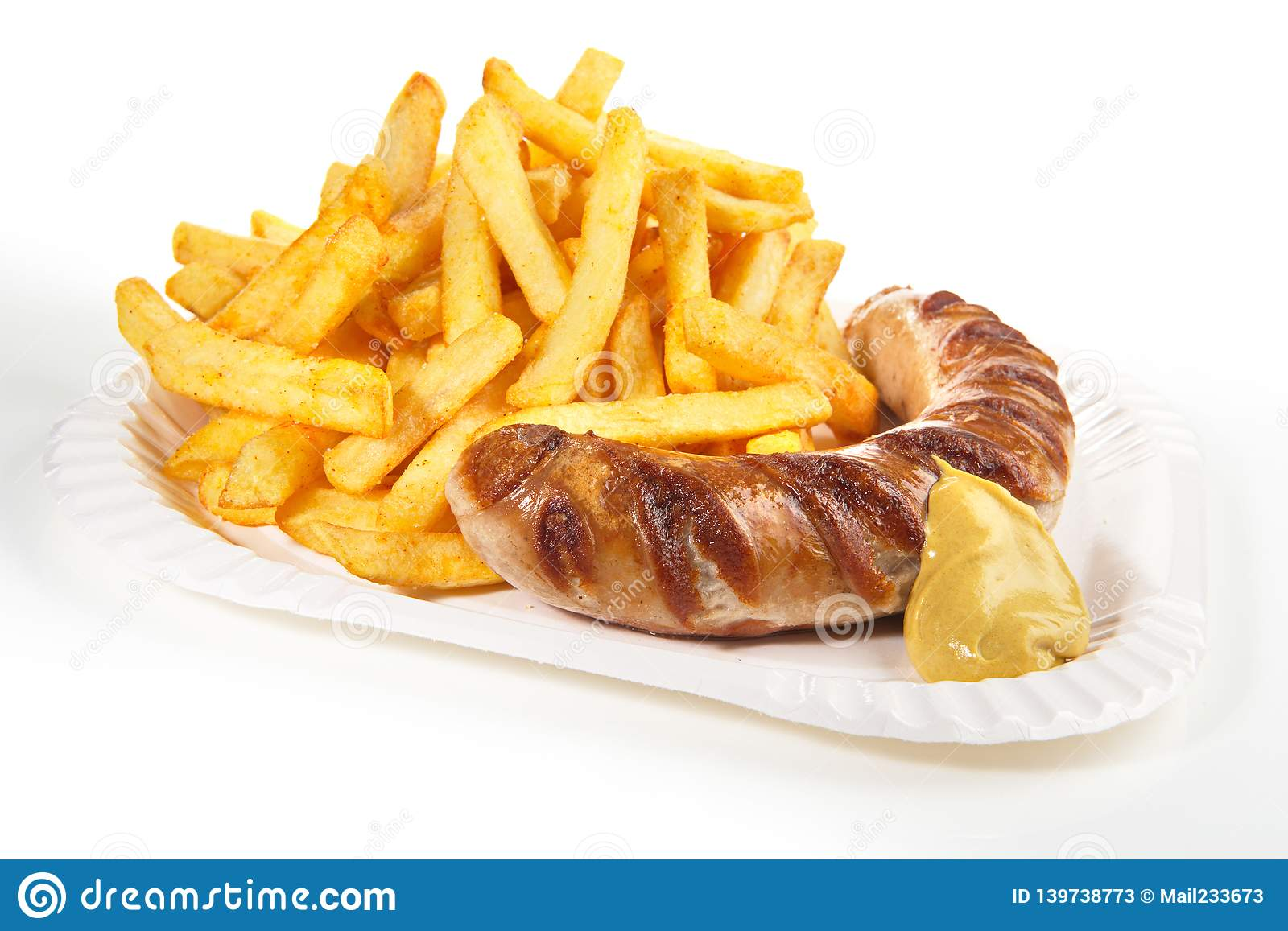 Sausage with Mustard and French Fries
