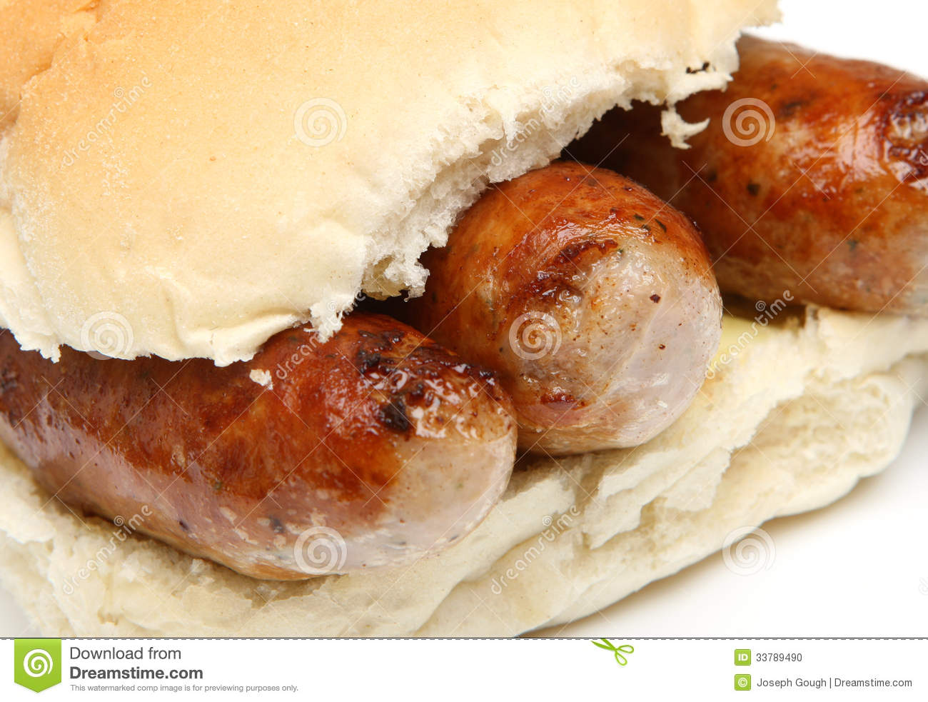 Sausages In Bread Roll Or Bap Sandwich Stock Photo - Image: 33789490