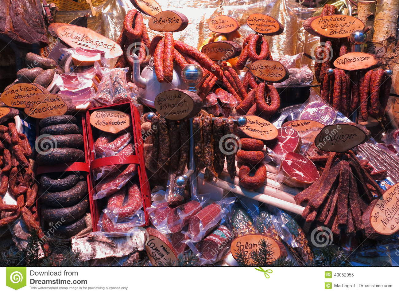 German Sausage And Meat Variety Food Supply Stock Image