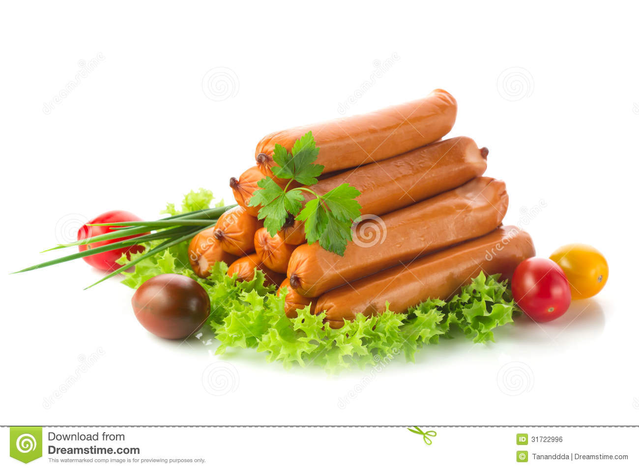 Royalty Free Stock Image: Sausages with salad, chives and tomato