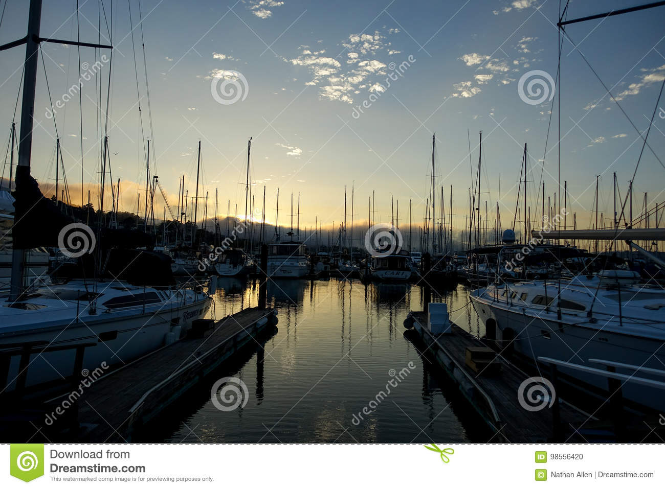 Sausalito Boat Masts In The Harbor Editorial Image - Image