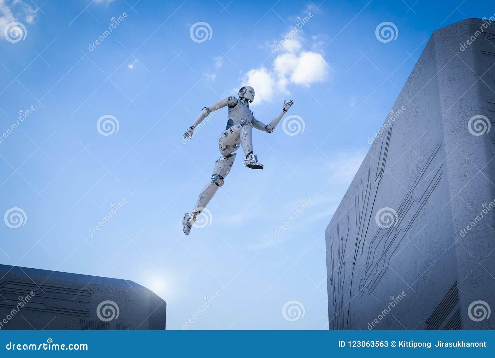 Saut de robot à travers