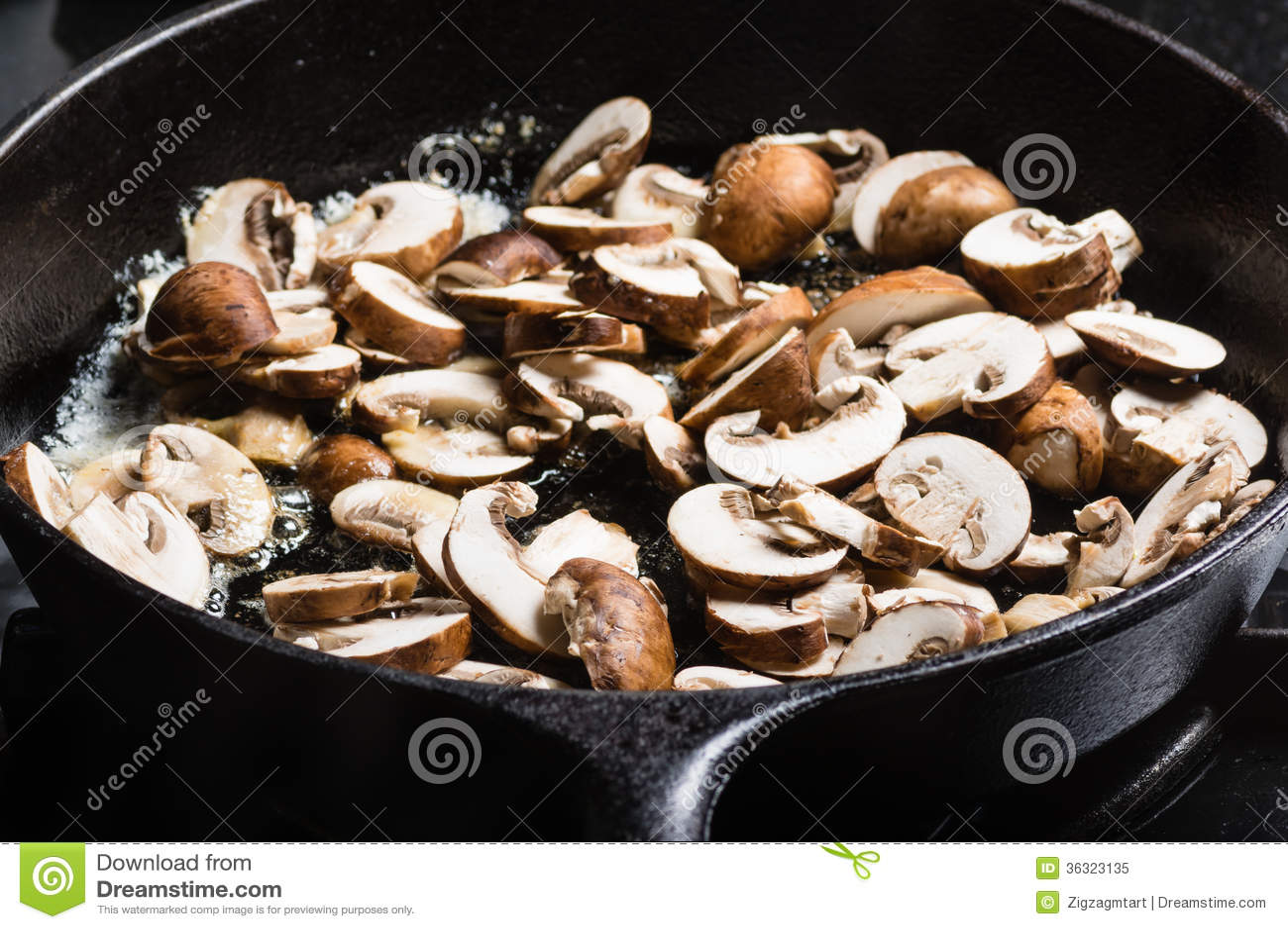 cast iron stew pot on cast iron chicken mushroom mushrooms in a cast ...