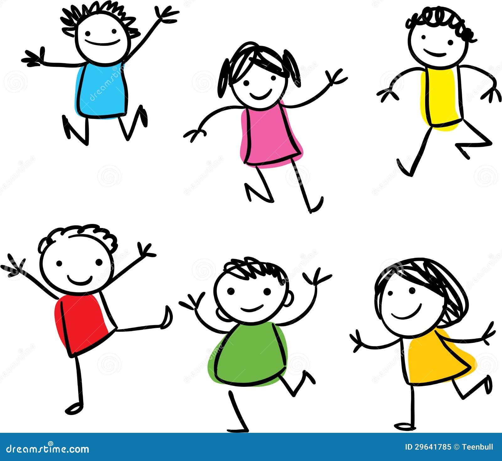 Sauter heureux d 39 enfants illustration stock illustration - Caricature gratuite en ligne ...