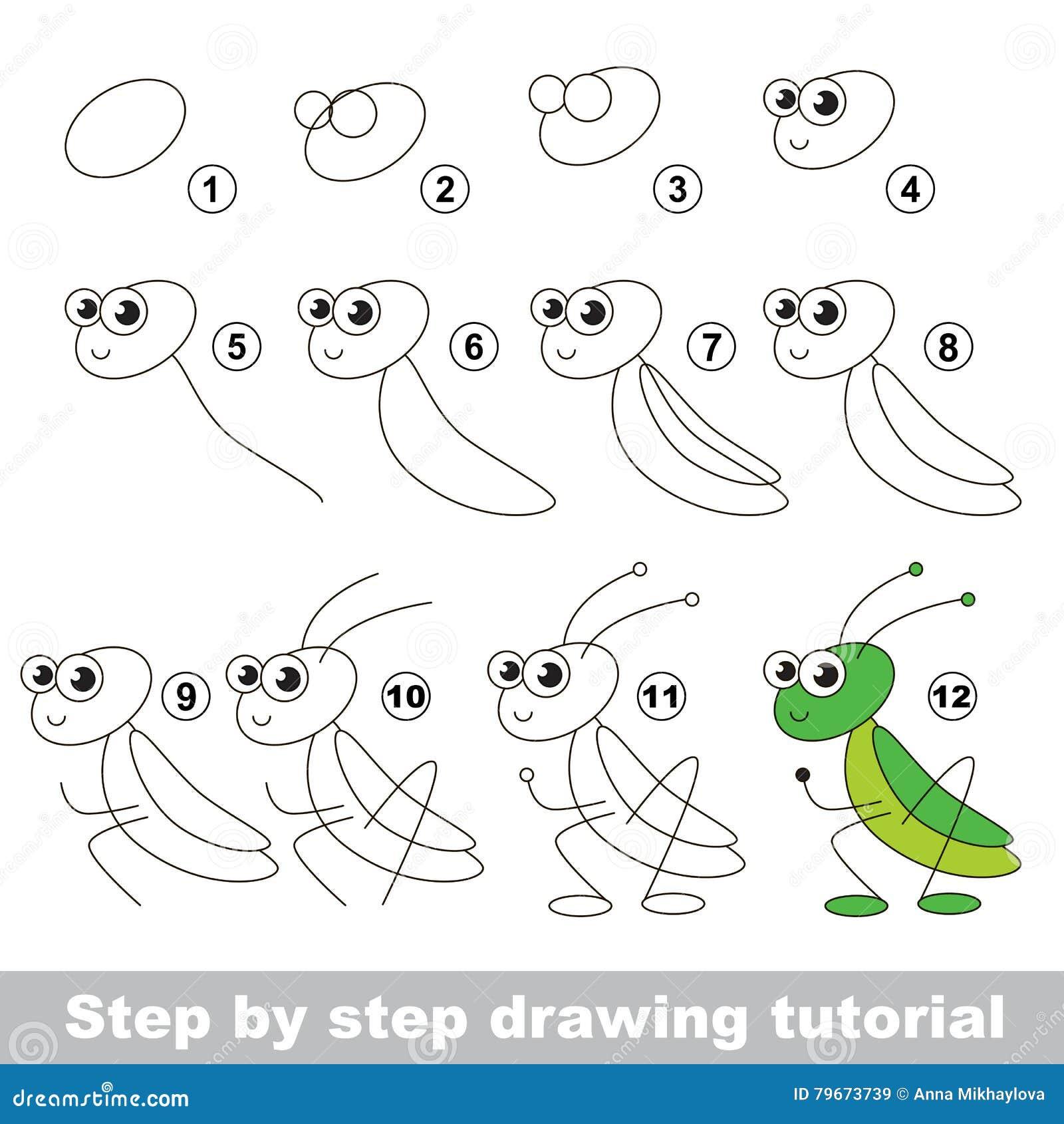 Sauterelle cours de dessin illustration de vecteur - Sauterelle dessin ...