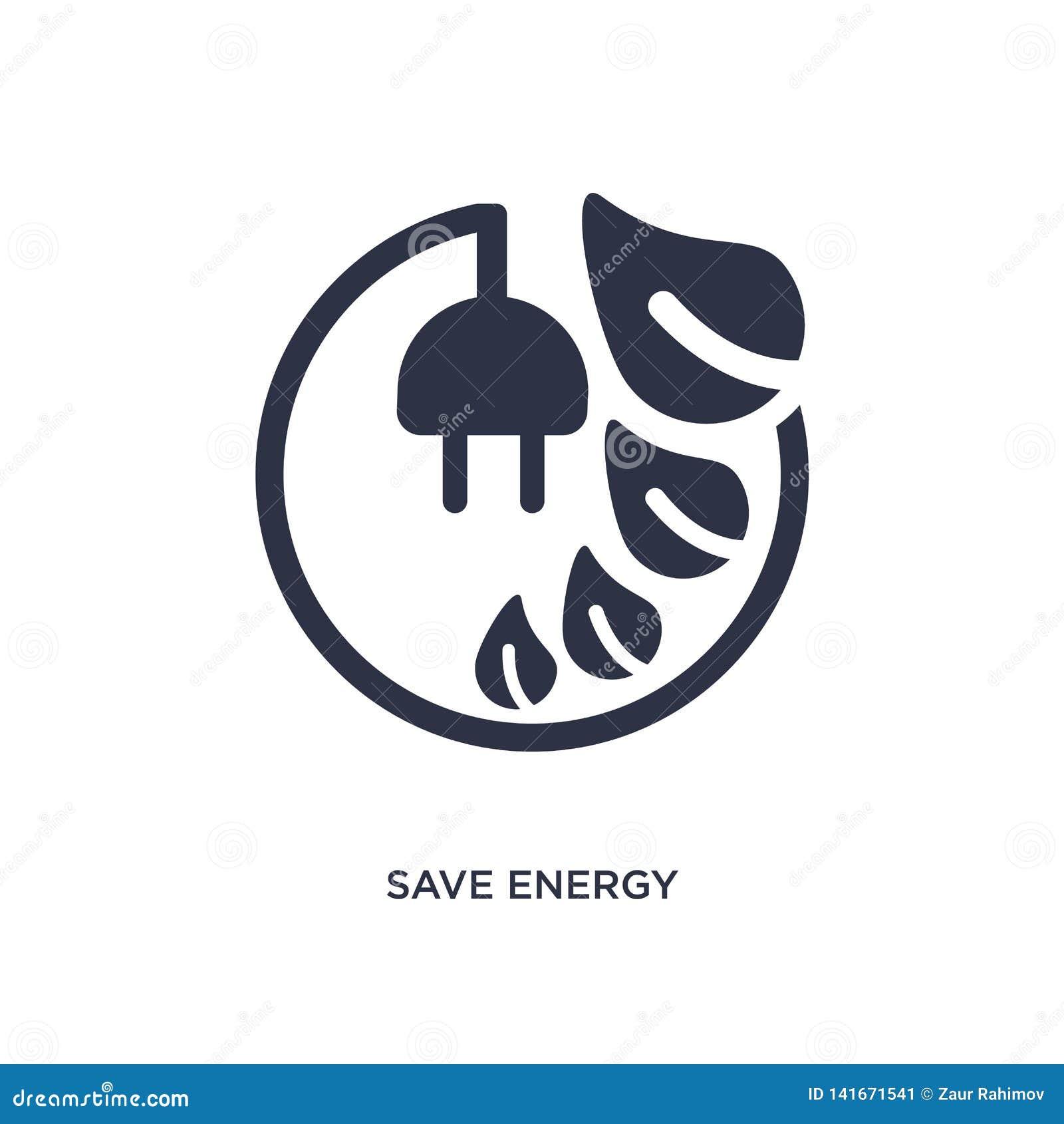 Sauvez l icône d énergie sur le fond blanc Illustration simple d élément de concept d écologie