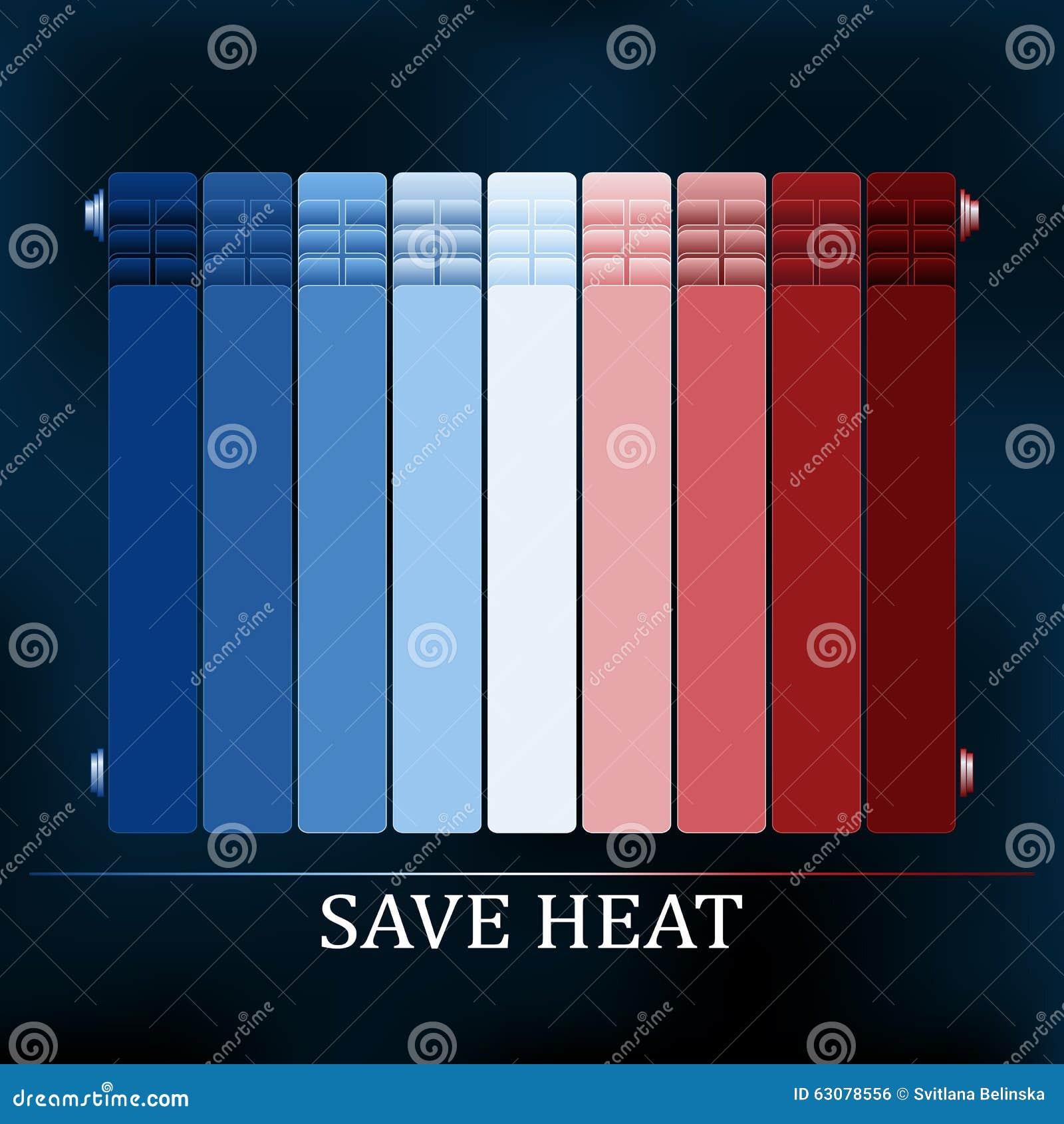 Download Sauvez L'illustration De Radiateur Colorée Par Chaleur Illustration de Vecteur - Illustration du chaud, soin: 63078556
