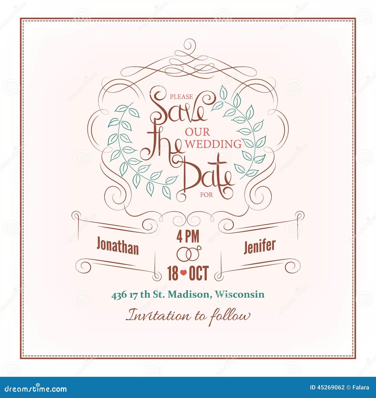 sauvez la carte d 39 invitation de mariage de calligraphie de. Black Bedroom Furniture Sets. Home Design Ideas
