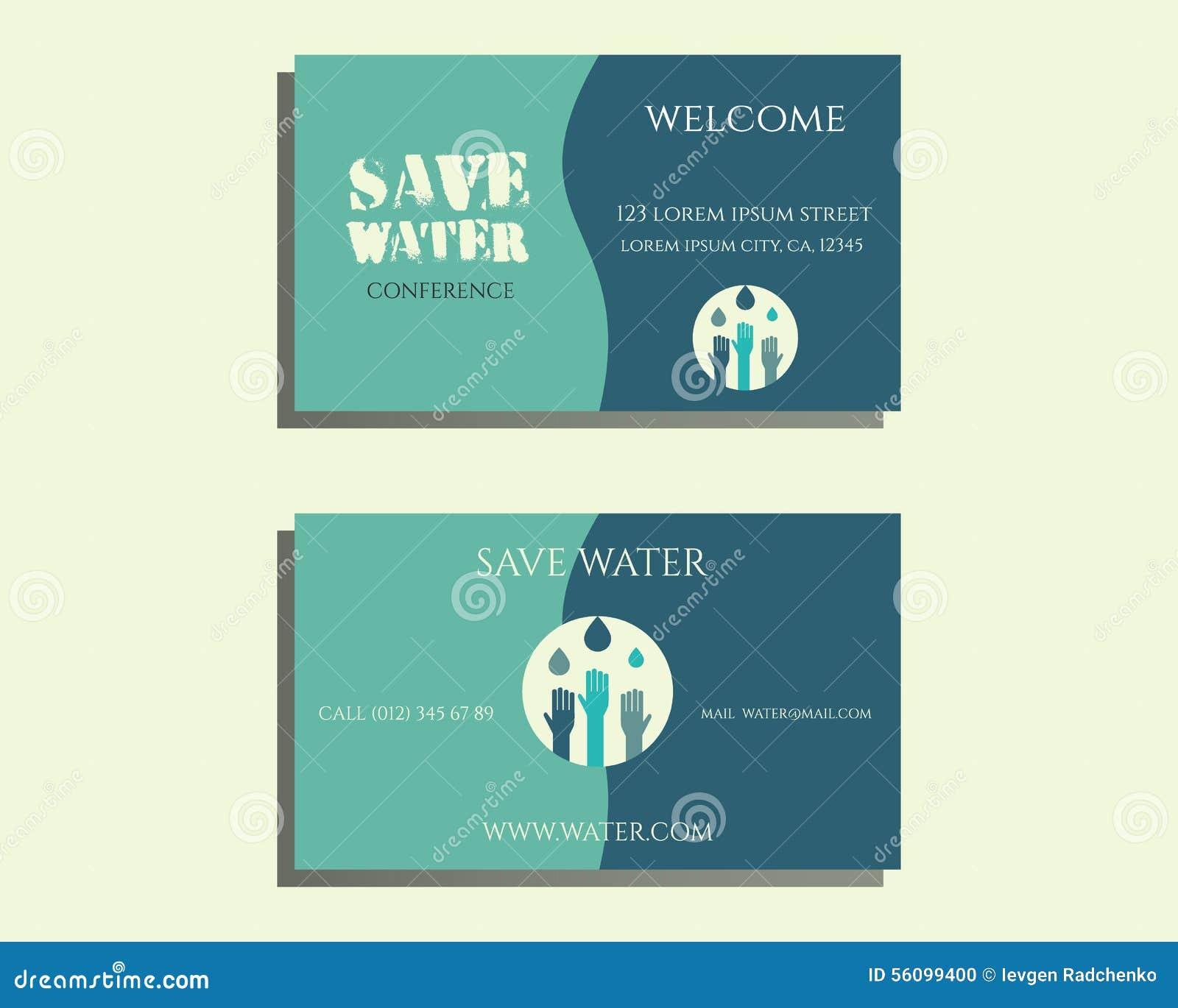 Sauvez Le Calibre De Carte Visite Conference Leau Avec Des Baisses Et Remettez Logo Sur Fond Bleu Lumineux Illustration