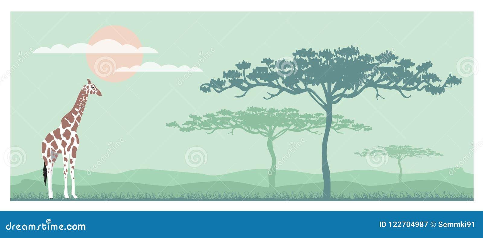 Savana orizzontale dell elefante della siluetta dell insegna, fumetto dell illustrazione di vettore
