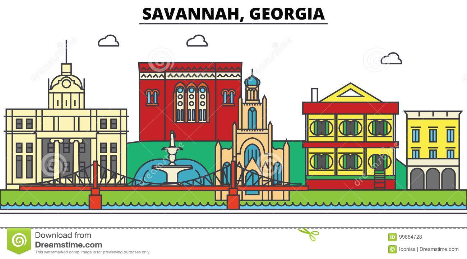 Savanna, Georgia Orizzonte della città, architettura, costruzioni, vie, siluetta, paesaggio, panorama, punti di riferimento, icon