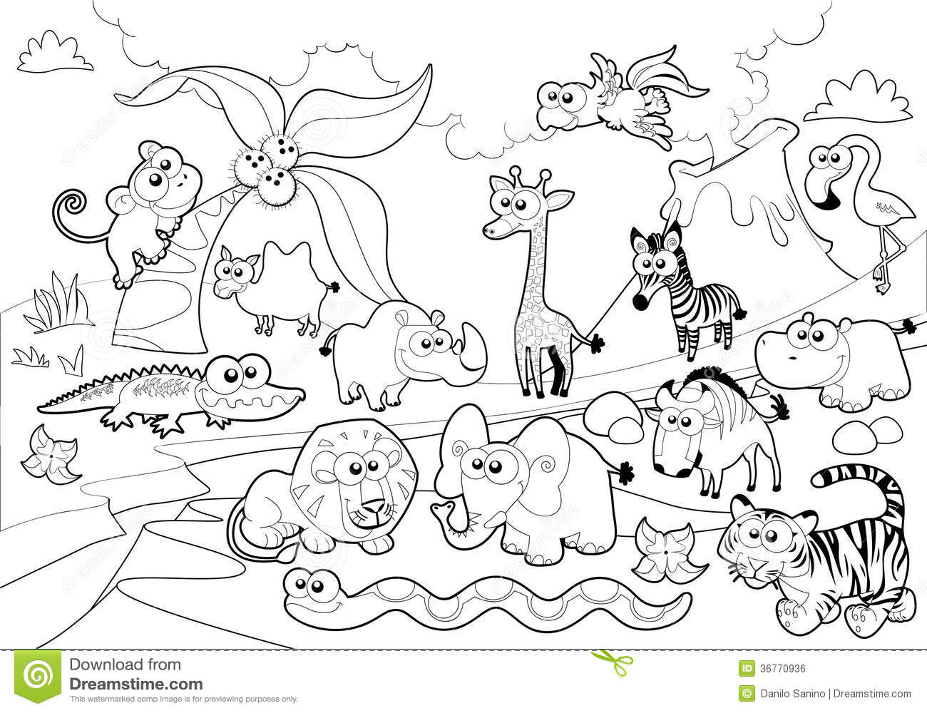 Download Savannah Animal Family With Background In Black And White Stock Vector