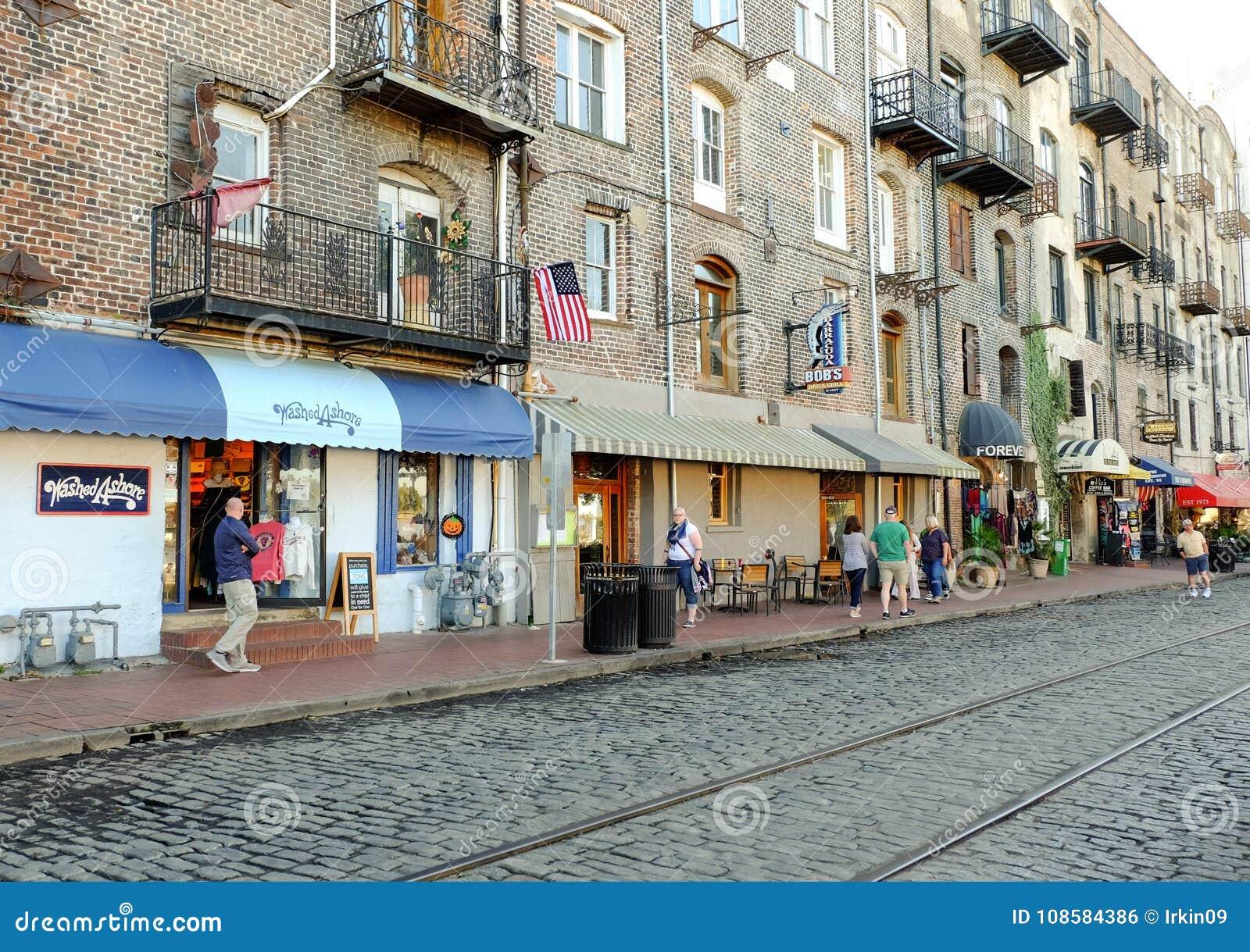 Savannah Georgia Bars And Restaurants On River Street Editorial