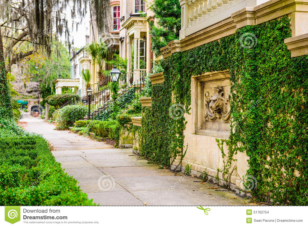 Savannah Georgia Historic Neighborhoods Stock Photo