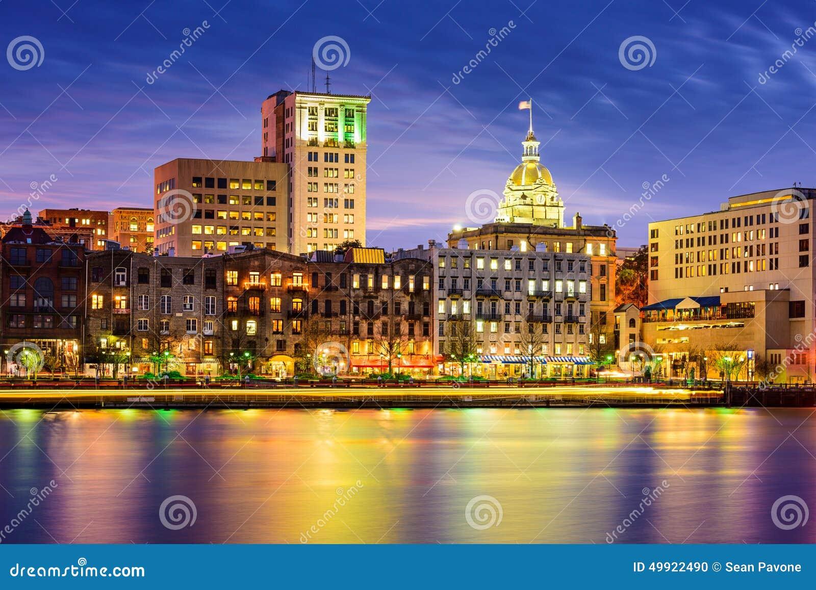 Savannah Georgia Riverfront Skyline Stock Photo Image