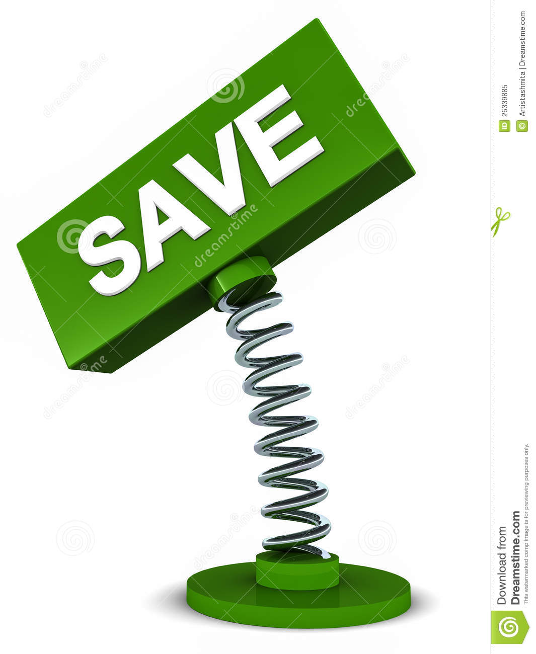 Save banner on a spring bound banner box, save money, environment or ...: www.dreamstime.com/royalty-free-stock-photo-save-banner-image26339885