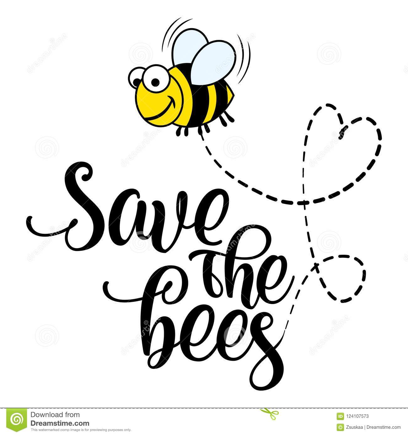 Save The Bees Funny Vector Text Quotes And Bee Drawing