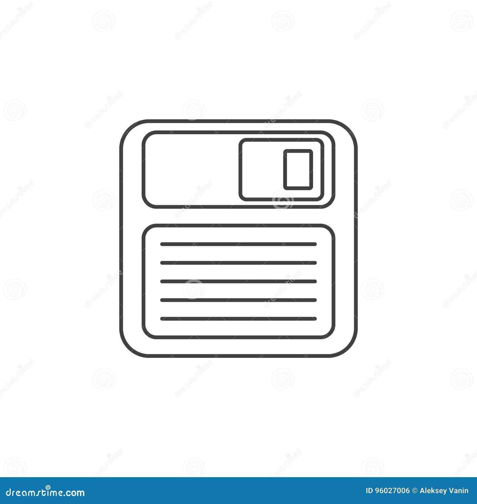 Save cienką kreskową ikonę, opadającego dyska konturu loga wektorowy illustratio