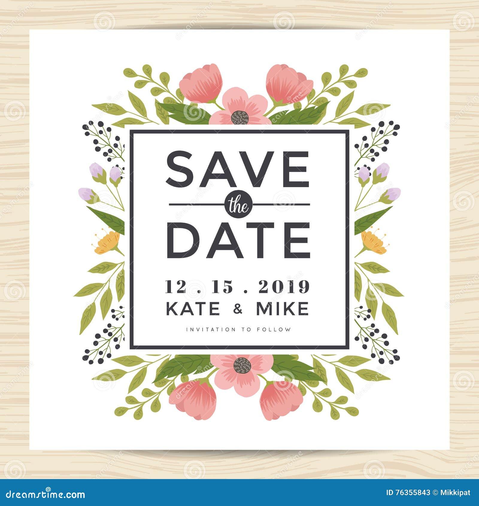 Save datę, ślubny zaproszenie karty szablon z ręka rysującym wianku kwiatu rocznika stylem Kwiatu kwiecisty tło