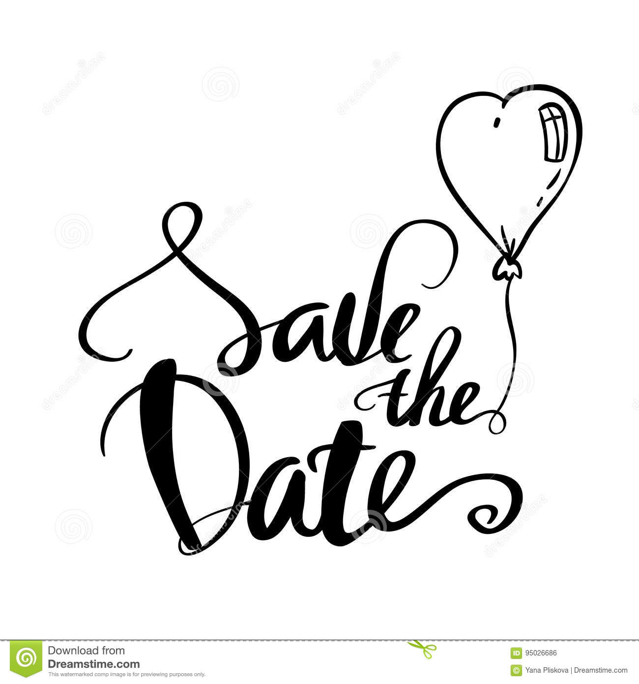 save the date clipart black and white