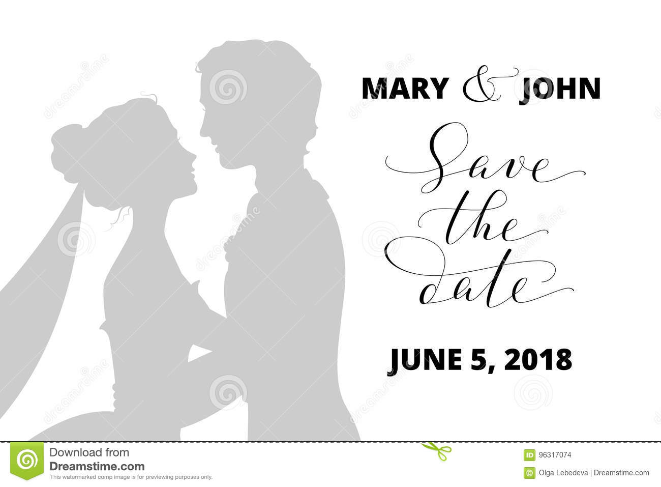 Save The Date Card With Bride And Groom Silhouettes And Hand Written ...
