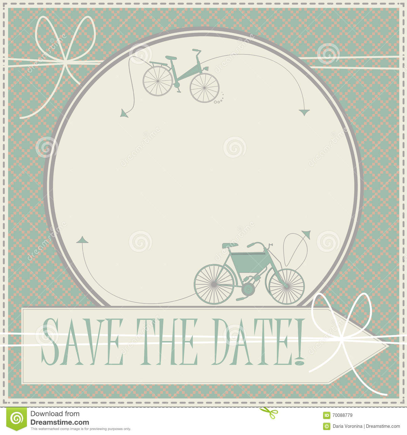 Save The Date Card With Decorative Bicycles Stock Vector