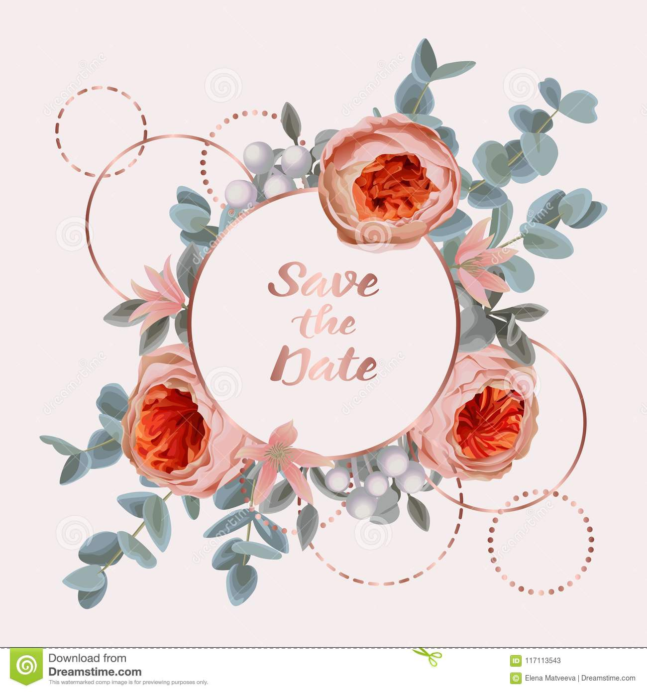 10783a61ef92 Save the Date card with pink gold frame from flowers and eucalyptus on gentle  pink background. Fashion greenery botanical greeting invite with watercolor  ...