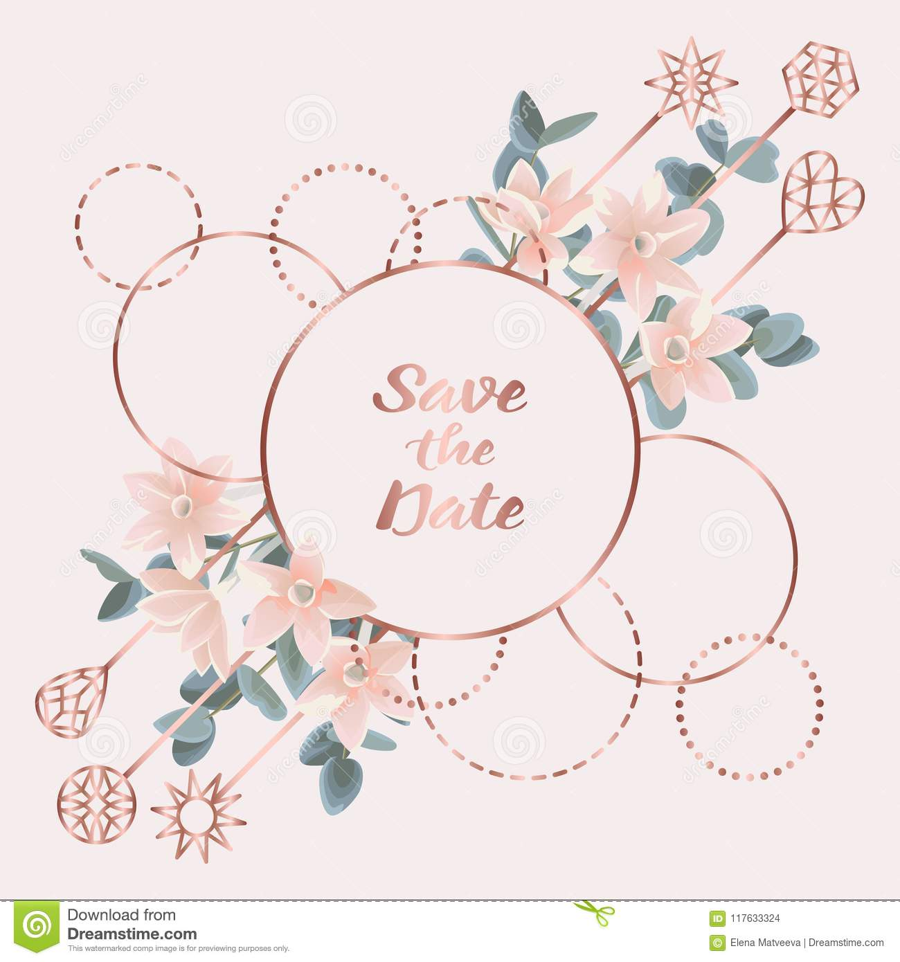 f595dbeed074 Wedding invitation card with pink gold frame from flowers and eucalyptus on gentle  pink background. Fashion greenery botanical greeting invite with ...