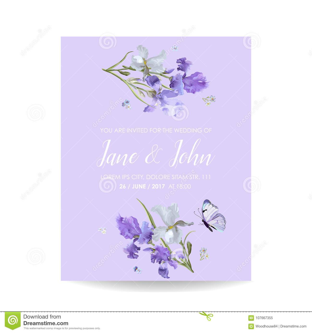 Save The Date Card With Iris Flowers And Butterflies Floral Wedding